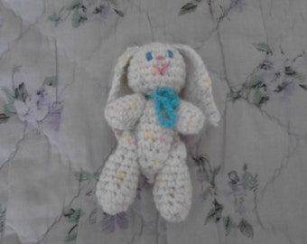 4in White Variegated Bunny Toy