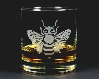 Honey Bee Lowball Glass - apiculture gift for insect lovers