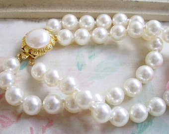 Menorca Faux Simulated Pearl 2 Strand Bracelet with Tag - New Old Stock