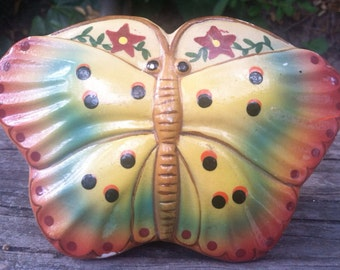 Vintage Chalkware Butterfly Yellow Green Pink Decor epsteam