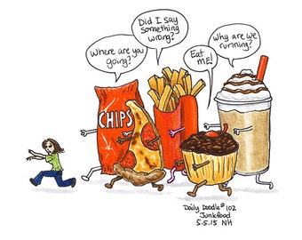 No.102 Junkfood / Original Artwork / Illustration / Daily Doodle / Art Print / Food Drawing / Food Lover / Will Power / Humor / Funny