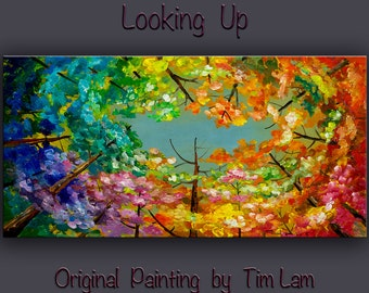 Mixed Media Acrylic Oil Painting Wall art Original abstract painting Looking Up forest stretched linen canvas Modern decor by Tim Lam 48x24
