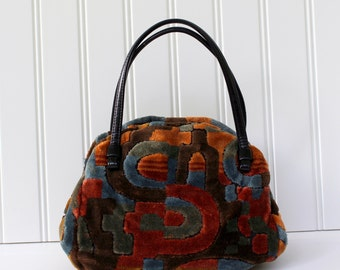 Vintage Carpet Purse - Cara - USA - Multi-color Handbag - Cara Purse