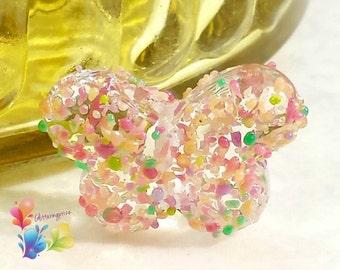 Lampwork Glass Focal  Bead Cherry Blossom Butterfly