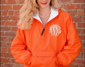 Orange Fleece Lined Monogrammed Windbreaker Jacket - Personalized Hooded quarter zip raincoat rain jacket with hood for women Charles River