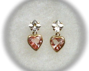 Pink Topaz Gemstone 8mm Heart with 5mm White Topaz Gemstone Accent in 14k Yellow Gold Stud Dangle Earrings