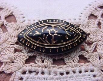 Egyptian Revival Black Gold Eye Vintage Lucite Bead