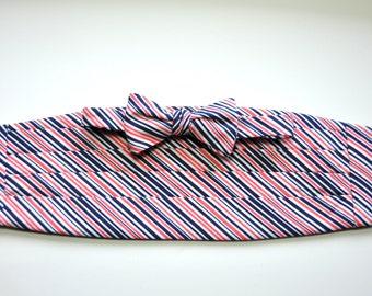 Coral and Navy Cummerbund and Bow Tie for Men
