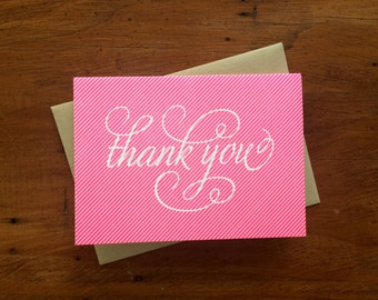 Thank You Pinstripe Pink, single letterpress card