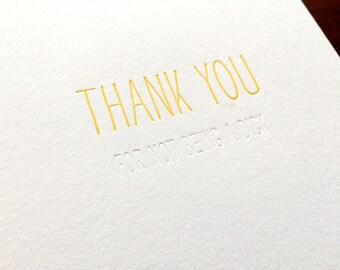 Hidden Message: Thanks Dick, single letterpress card