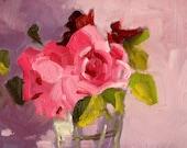 Still Life, Original Oil Painting, Pink Floral Roses, Pastel Flowers, Summer Blooms, Romantic 6x8 Small Art, Bedroom Design, Lavender Glass