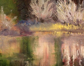 Original Landscape Oil Painting, Small 6x8 Canvas, Pond Scene, Water Reflection, Nature, Rural Country River, Wall Decor,