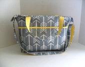 Large Diaper Bag - Gray Arrow - Zipper Closure - Messenger - Tote Bag - Diaper Bag - Stroller Strap - Monogramming Available - Laptop