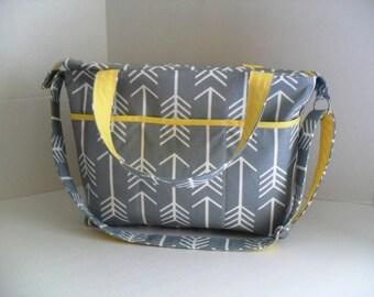 Arrow Diaper Bag - Gray Arrow - Diaper Bag - Gray Arrow Diaper Bag - Gray Arrow Bag - Arrow Bag - Messenger Bag - School Bag - Laptop Bag