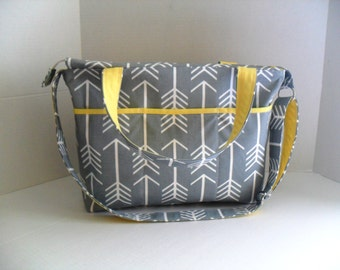 Arrow Laptop Bag - Gray Arrow - Zipper Closure - Messenger - Tote Bag - Diaper Bag - Stroller Strap - Monogramming Available - Laptop bag