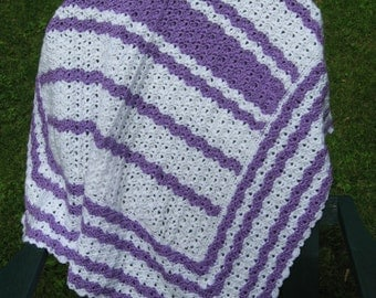 Lilac and White Hand Crocheted Baby Blanket Afghan