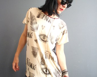 House of Fun - iheartfink Handmade Hand Printed Womens Mixed Prints Unique Loose Fit Jersey T Shirt Top
