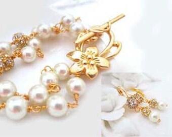 Pearl Bracelet Earrings Set with Gold Leaf Vintage Style Rhinestone Wedding Dangles Bridal Jewelry Set