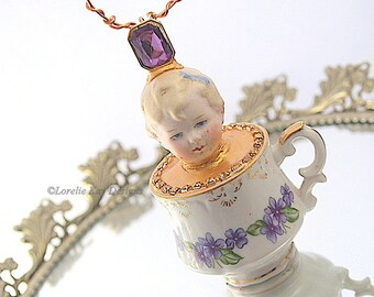 Forget-Me-Not Teacup Art Doll Ornament  Hanging Art Doll Assemblage China Teacup Mixed Media Doll Sculpture