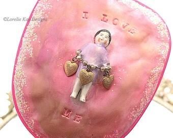 I Love Me Hand Mirror Vanity Mirror Set Lorelie Kay Designs Original Doll Face Mirror Mixed Media