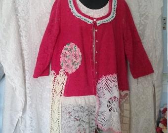 Wearable Art Hot Pink Lace Jacket