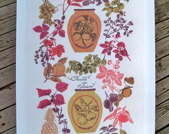 Vintage Linen Tea Towel - Designer Bonheur - Fruits in Season