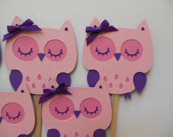 Owl Cupcake Toppers - Pink and Purple - Girl Birthday Party Decorations - Girl Baby Shower Decorations - Set of 6