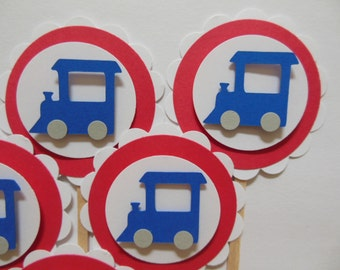 Train Cupcake Toppers - Red, White and Blue - Boy Baby Shower Decorations - Boy Birthday Decorations - Set of 6