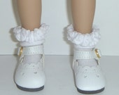 Effner Little Darling Doll Brand New White Baby Heart Shoes With Whipped Cream White socks By TnTCreations