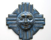Sunny Face Zia Wall Plaque - Pacifica Blue Glaze