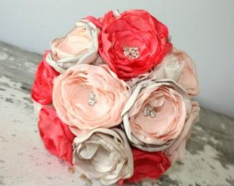Coral bouquet, Peach, coral and champagne wedding bouquet, brides bouquet, fabric flower bouquet,  keepsake bridal bouquet, coral and gold
