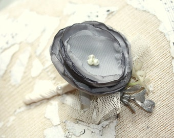 Gray boutonniere, charcoal mens wedding boutonniere, fabric flower boutineer, buttonhole, gray grooms flower