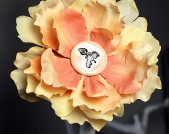 Archaeopteryx Dinosaur Flower Hair Clip in Peach