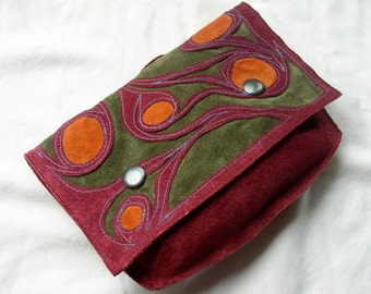 Large Pouch Wallet in Recycled Suede and Leather