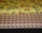 2 Piece Bundle Bikes and Blocks prints by Riley Blake and Andover. Quilting Cotton Fabric, Half Yards