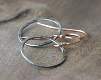 Hammered hoop earrings in rose gold & oxidized silver - mixed metal earrings - custom made to order