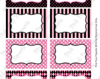 Printable Pink and Black Party Food Labels - Instant Download