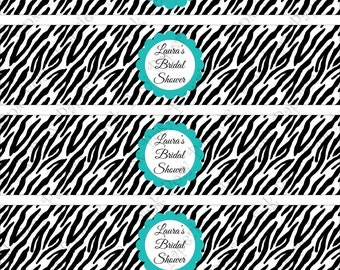 Printable Turquoise Zebra Bridal Shower Water Bottle Wrappers