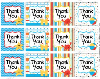 Printable Beach Thank You Tags - Instant Download
