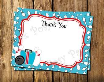 Printable Bowling Flat Thank You Note Cards - Instant Download