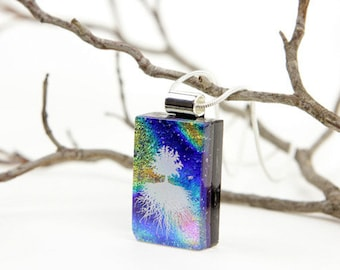 Dichroic Pendant- Dichroic Jewelry- Glass Pendant - Tree Necklace - Tree of Life - Dichroic Fused Glass Jewelry - Pendant - Dichroic Glass