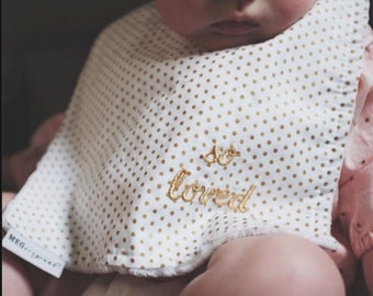 "The ""so loved"" Bib in gold { Baby-to-Toddler Adjustable Snap Bib } 814"