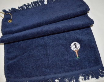 GOLF Towel Embroidered with Golf Ball and Golfer Silhouette Navy Blue Small - Ready to Ship