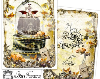 Marie Antoinette Halloween le Poison Witch Card Set 6 with Die Cut Seals
