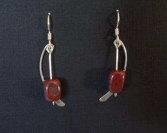 Sterling Silver Bracciated Jasper (Brown) Fan Earrings