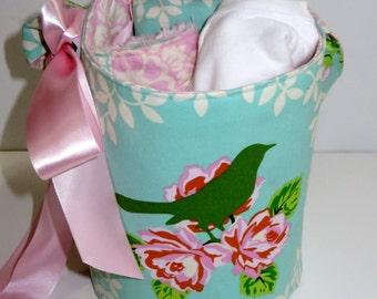 READY TO SHIP Mockingbird Baby Gift Bucket Set with Bib, Lovey and Onesie