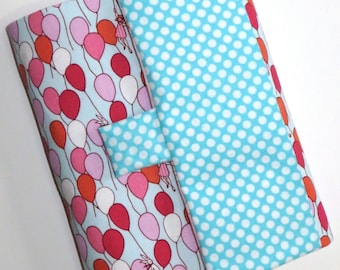 READY TO SHIP Balloons, Bunnies, Hopscotch and Pinwheels Large Artist Sketch Case in Aqua and Pink