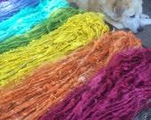 415 yards huge rainbow lot handspun handmade curly lockspun yarn lot  perfect for rug, afghan, poncho, sweater, weaving, baby blanket