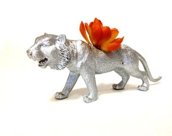 Silver Tiger Planter with Succulent Plant