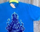 Ganesh batik yoga men t-shirt eco friendly blue hand drawn hand painted hand dyed size XS, S, M, L, XL, XXL